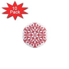 Red Pattern Filigree Snowflake On White 1  Mini Magnet (10 Pack)