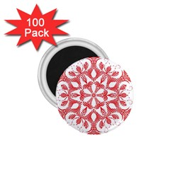 Red Pattern Filigree Snowflake On White 1 75  Magnets (100 Pack)