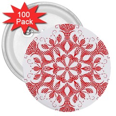 Red Pattern Filigree Snowflake On White 3  Buttons (100 Pack)