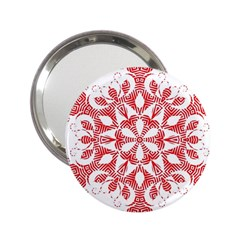 Red Pattern Filigree Snowflake On White 2 25  Handbag Mirrors