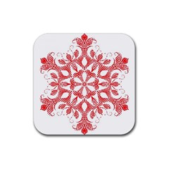 Red Pattern Filigree Snowflake On White Rubber Coaster (square)
