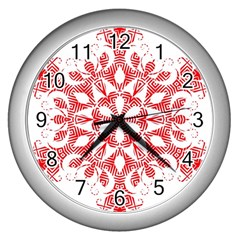 Red Pattern Filigree Snowflake On White Wall Clocks (silver)