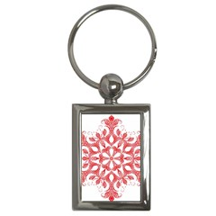 Red Pattern Filigree Snowflake On White Key Chains (rectangle)
