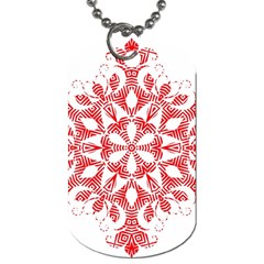 Red Pattern Filigree Snowflake On White Dog Tag (One Side)