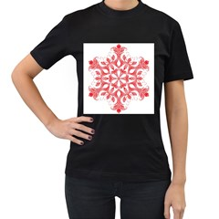 Red Pattern Filigree Snowflake On White Women s T Shirt (black) (two Sided)