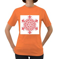 Red Pattern Filigree Snowflake On White Women s Dark T Shirt