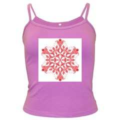 Red Pattern Filigree Snowflake On White Dark Spaghetti Tank