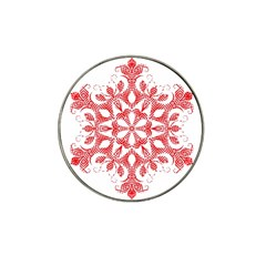 Red Pattern Filigree Snowflake On White Hat Clip Ball Marker (4 Pack)