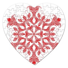 Red Pattern Filigree Snowflake On White Jigsaw Puzzle (heart)