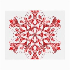Red Pattern Filigree Snowflake On White Small Glasses Cloth