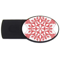 Red Pattern Filigree Snowflake On White Usb Flash Drive Oval (4 Gb)