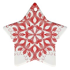 Red Pattern Filigree Snowflake On White Star Ornament (two Sides)