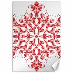 Red Pattern Filigree Snowflake On White Canvas 12  X 18