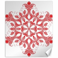 Red Pattern Filigree Snowflake On White Canvas 20  X 24