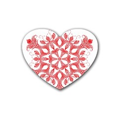 Red Pattern Filigree Snowflake On White Heart Coaster (4 Pack)