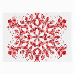 Red Pattern Filigree Snowflake On White Large Glasses Cloth (2-Side)