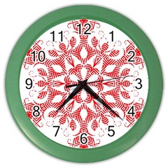 Red Pattern Filigree Snowflake On White Color Wall Clocks