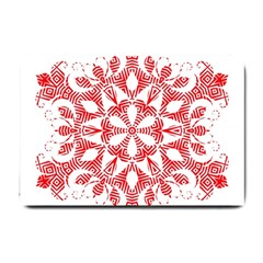 Red Pattern Filigree Snowflake On White Small Doormat