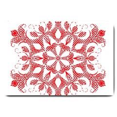 Red Pattern Filigree Snowflake On White Large Doormat