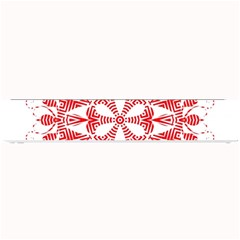 Red Pattern Filigree Snowflake On White Small Bar Mats