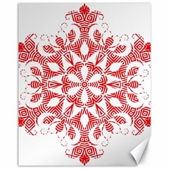 Red Pattern Filigree Snowflake On White Canvas 11  x 14