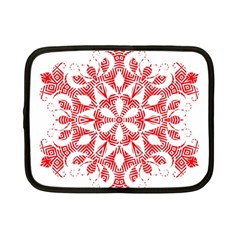 Red Pattern Filigree Snowflake On White Netbook Case (small)