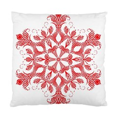 Red Pattern Filigree Snowflake On White Standard Cushion Case (one Side)