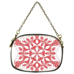 Red Pattern Filigree Snowflake On White Chain Purses (two Sides)