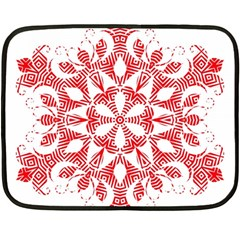 Red Pattern Filigree Snowflake On White Fleece Blanket (mini)