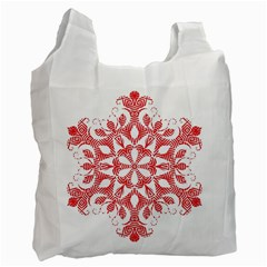 Red Pattern Filigree Snowflake On White Recycle Bag (two Side)