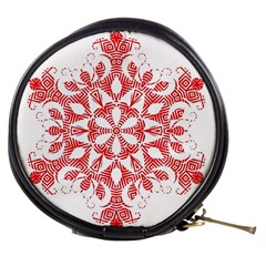 Red Pattern Filigree Snowflake On White Mini Makeup Bags