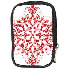 Red Pattern Filigree Snowflake On White Compact Camera Cases