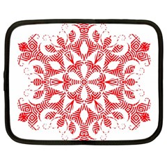 Red Pattern Filigree Snowflake On White Netbook Case (xxl)