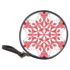 Red Pattern Filigree Snowflake On White Classic 20 Cd Wallets