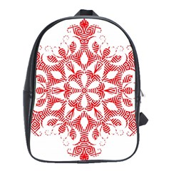 Red Pattern Filigree Snowflake On White School Bags(large)