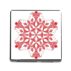 Red Pattern Filigree Snowflake On White Memory Card Reader (square)