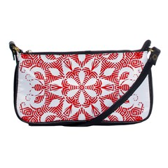 Red Pattern Filigree Snowflake On White Shoulder Clutch Bags