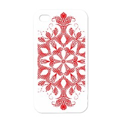 Red Pattern Filigree Snowflake On White Apple Iphone 4 Case (white)
