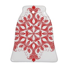 Red Pattern Filigree Snowflake On White Ornament (bell)