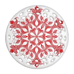 Red Pattern Filigree Snowflake On White Round Filigree Ornament (two Sides)