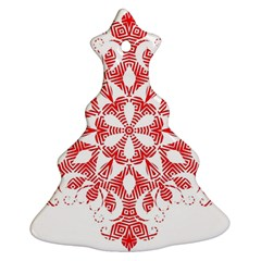Red Pattern Filigree Snowflake On White Christmas Tree Ornament (two Sides)