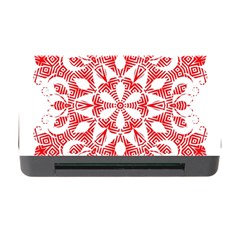 Red Pattern Filigree Snowflake On White Memory Card Reader With Cf