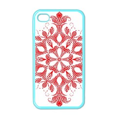 Red Pattern Filigree Snowflake On White Apple Iphone 4 Case (color)