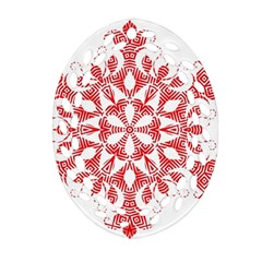 Red Pattern Filigree Snowflake On White Oval Filigree Ornament (two Sides)