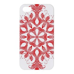 Red Pattern Filigree Snowflake On White Apple Iphone 4/4s Hardshell Case