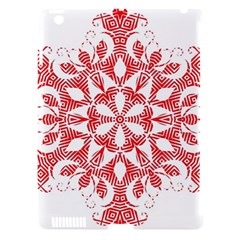 Red Pattern Filigree Snowflake On White Apple Ipad 3/4 Hardshell Case (compatible With Smart Cover)