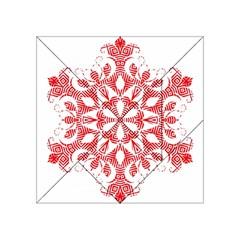 Red Pattern Filigree Snowflake On White Acrylic Tangram Puzzle (4  X 4 )