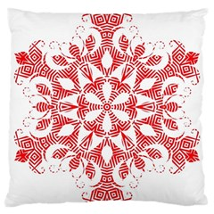 Red Pattern Filigree Snowflake On White Large Cushion Case (two Sides)
