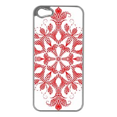 Red Pattern Filigree Snowflake On White Apple Iphone 5 Case (silver)