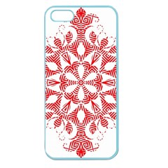 Red Pattern Filigree Snowflake On White Apple Seamless Iphone 5 Case (color)
